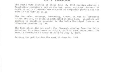 City of Delta Firework Ban News Release