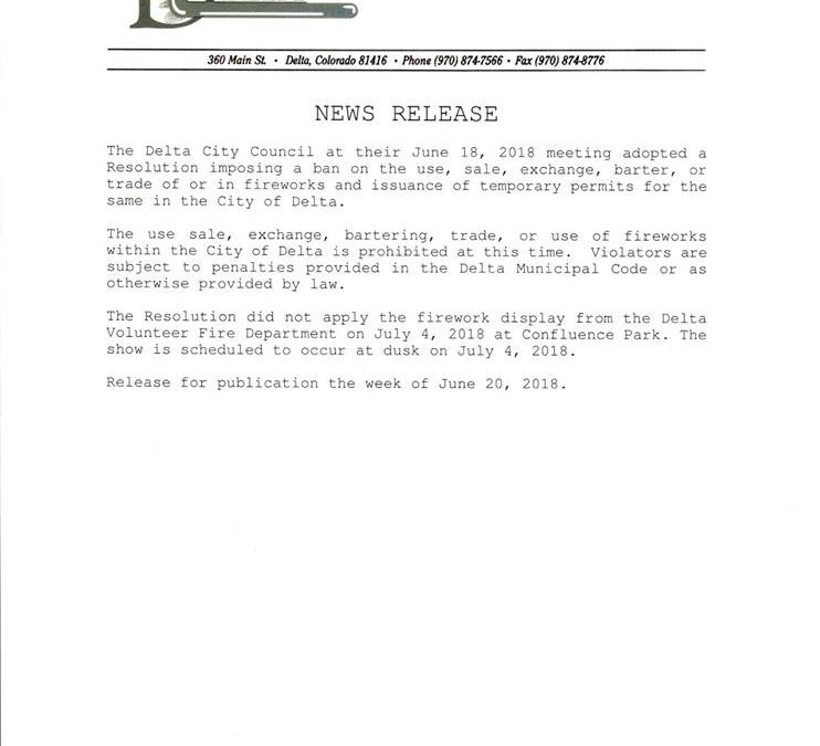 City of Delta Firework Ban News Release