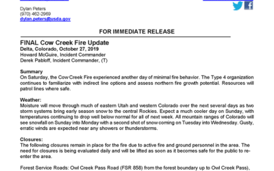 Cow Creek Fire 10/27/19 Final Update