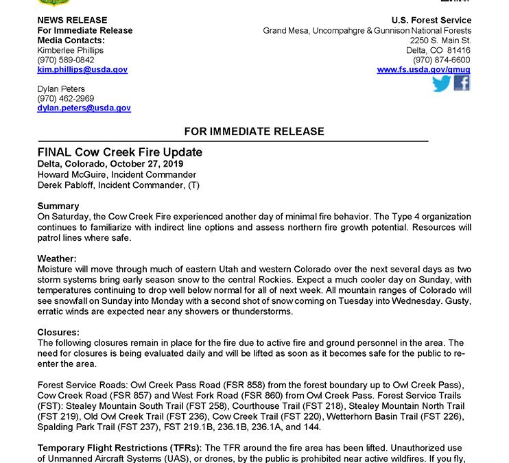 Cow Creek Fire 10/27/19 Final Update