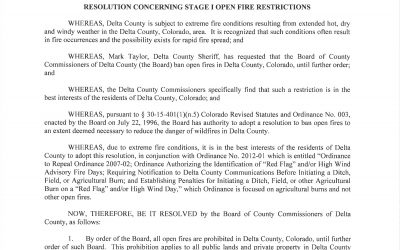 Delta County Enters into Stage 1 Fire Restrictions