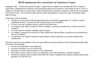 BLM Implements Fire Restrictions in Gunnison County