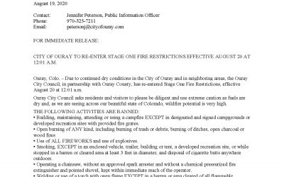 Ouray County Re-Enters Stage 1 Fire Restrictions August 20th